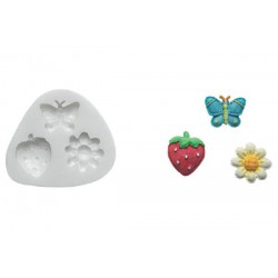 BUTTERFLY FLOWER STRAWBERRY SILICONE MOULD