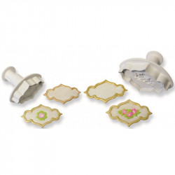 Creative Plaque Rose Rose Spray & Plain Set4