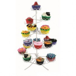 White Coated Wire Cupcake Stand (Hold 19)