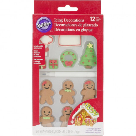 12 Count Christmas Gingerbread Icing Decorations