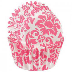 Mini Baking Cups Damask -Pink- pk/100