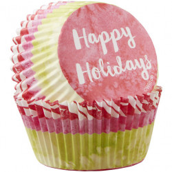HAPPY HOLIDAYS CUPCAKE LINERS