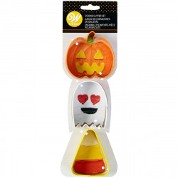 WILTON COOKIE CUTTER PUMPKIN-GHOST-CANDY CORN SET/3