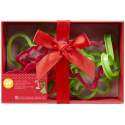 Wilton Christmas Plastic Cookie Cutter Box Set, 10 Piece Gift Set