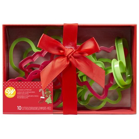 Wilton Christmas Plastic Cookie Cutter Box Set, 10 Piece Gift Set
