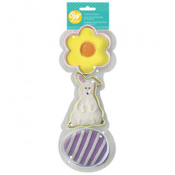 FLOWER, BUNNY AND EGG COOKIE CUTTER SET, 3-PIECE