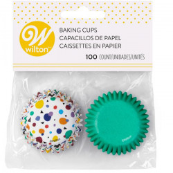 WILTON MINI BAKING CUPS DOTS TRIANGLES PK/100