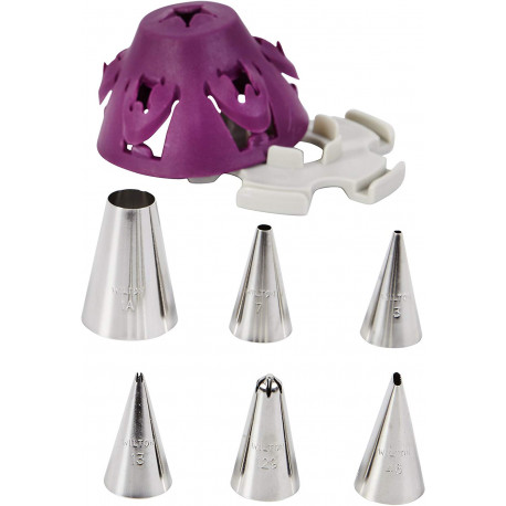 Wilton Cake Piping Tip Set with Silicone Stand, Purple, 7 Pieces