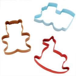 3 Piece Cookie Cutter Set Train Bear Rocking Horse