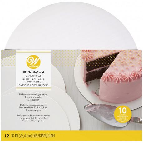 10IN (25.4 CM) CAKE CIRCLES 12 COUNT