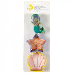 WILTON COOKIE CUTTERS MERMAID/SARFISH/ CLAM SHELL SET/3