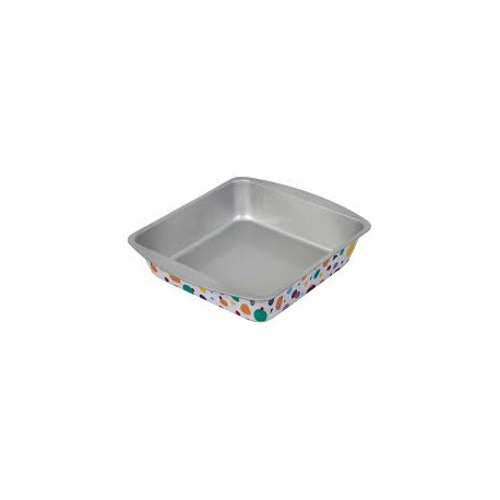 Bake and Bring Geometric Print Non-Stick Square Cake Pan