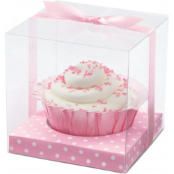 PINK DOTS CLEAR FAVOR BOX KIT